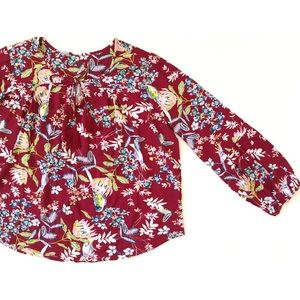 Simply Emma Red Boho Bird Fabric Peasant Blouse 2X